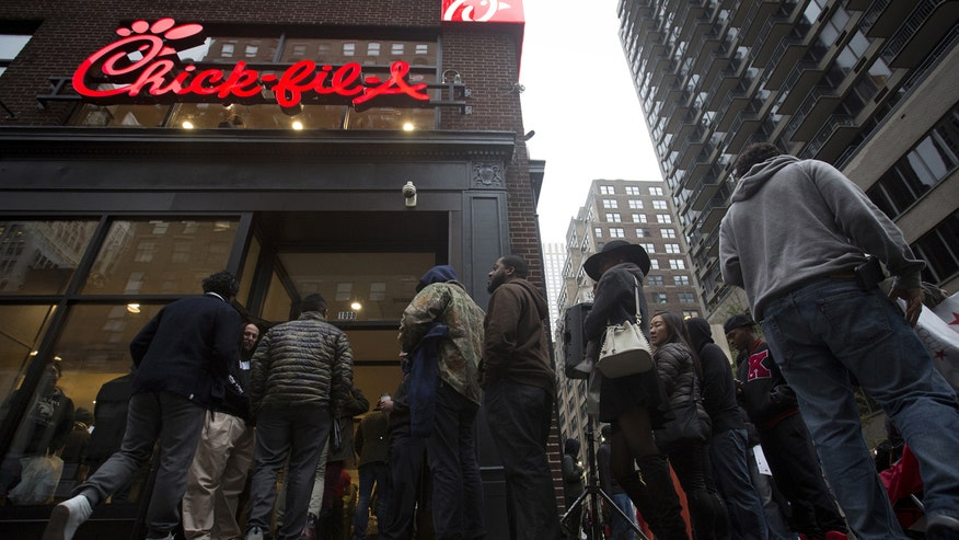 Chick-fil-A customers waiting in line for lunch respond to New York City mayor Bill de Blasio's calls for a city-wide boycott of the fast food chain