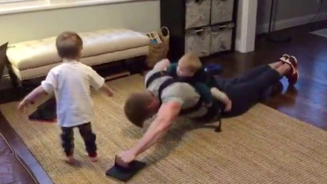 Creative dads use kids to boost their workouts