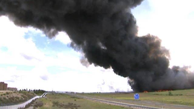 Massive tire fire visible for 20 miles, police suspect arson