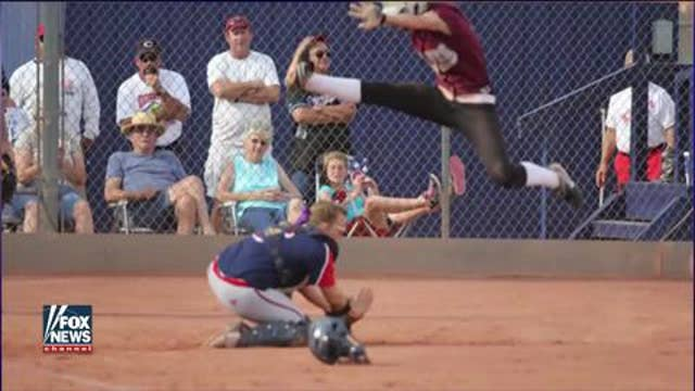 Cadet scores the most determined softball run