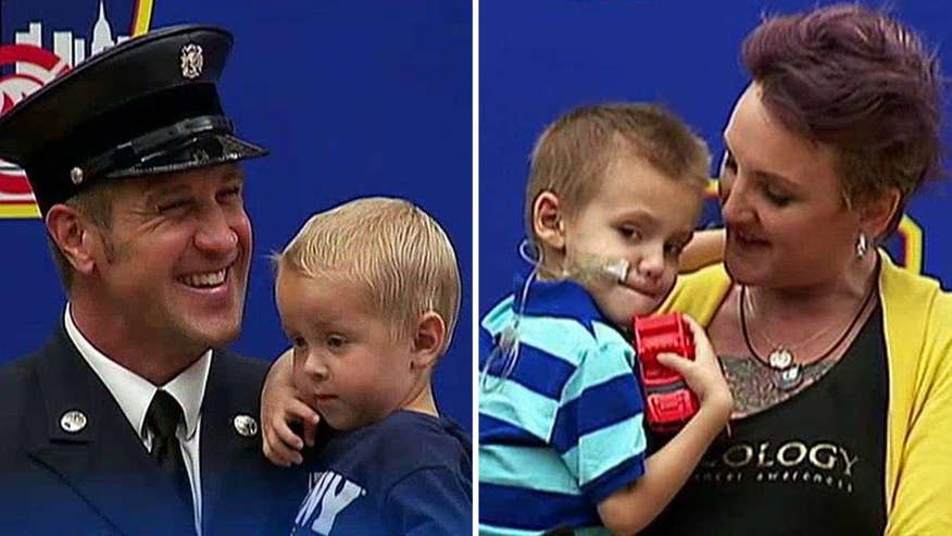 4-year-old River Laurence and 3-year-old Trucker Dukes are newest members of New York City Fire Department