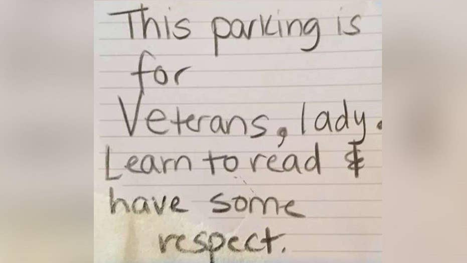 Veteran fires back to rude note left on car