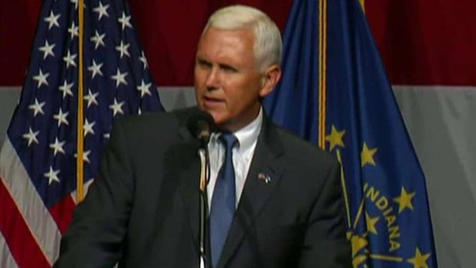 Indiana Governor Pence campaigns with Donald Trump