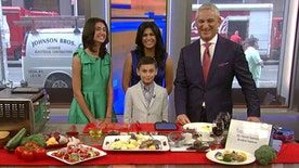 Dr. David Samadi prepares a dish with the help of his wife and kids