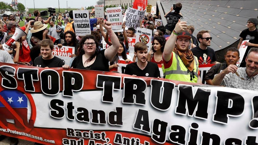 Demonstrators take to the streets to protest Republican National Convention