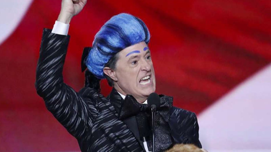 Colbert crashes RNC convention stage to mock Trump