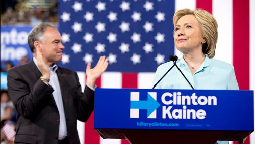 Kaine makes Clinton campaign debut amid backlash from the left
