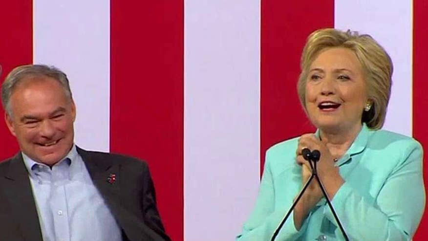 Democratic nominee Hillary Clinton introduces her running mate Sen. Tim Kaine