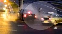 Lucky cyclist narrowly escapes crash when cars collide