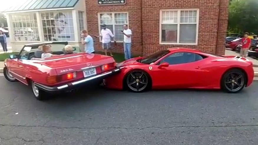 Driver has major problems parallel parking at Great Falls Cars and Coffee gathering in Virginia