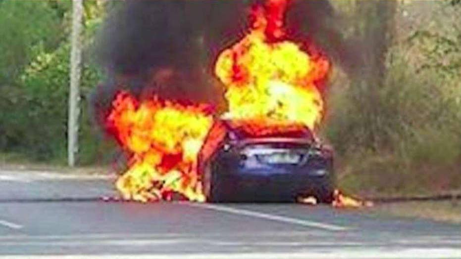 Tesla bursts into flames during test drive