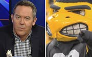 Says Herky the Hawk's expression traumatizes students