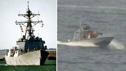 Iranian vessels from its Revolutionary Guard Corps harassed another U.S. Navy ship Sunday in the central Persian Gulf, a defense department official tells Fox News.