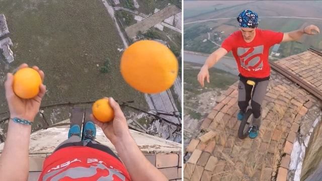 Daredevil unicyclist juggles at dizzying heights
