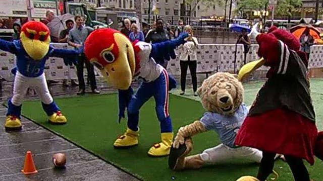 Mascots compete in College Colors Day relay race