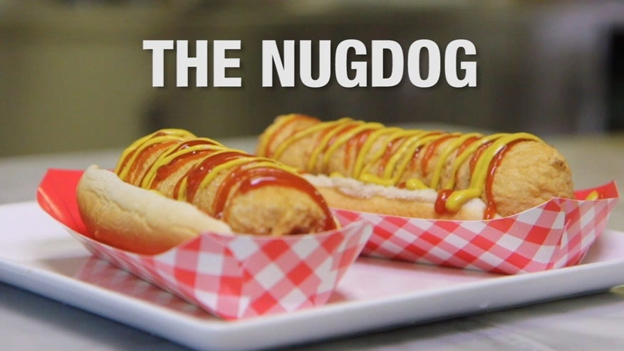 Grumble: This deep-fried delicacy mashes up two fast food favorites- chicken nuggets and hot dogs. Here's how to make it. Nugdog prepared by Institute of Culinary Education's James Briscione