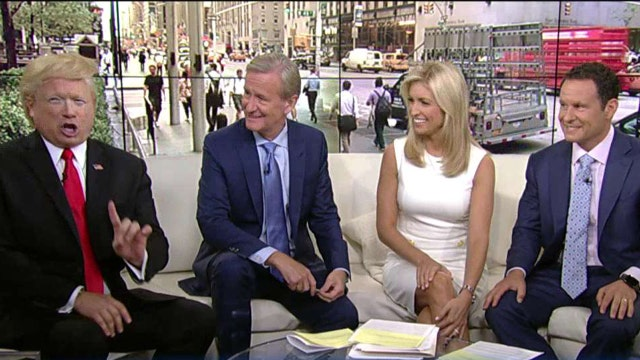 'Donald Trump' joins the 'Fox & Friends' on the curvy couch