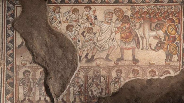 Rare discovery: Ancient synagogue mosaic may depict Alexander the Great