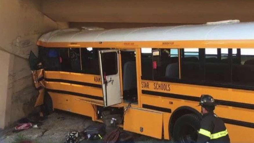 Bus slammed into concrete pillar at Denver airport