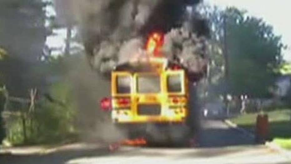 20 students safely evacuated from burning school bus