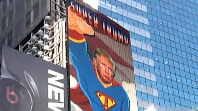 55-foot 'Super Trump' flies into Times Square