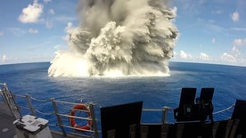 Raw video: 10,000-pound explosive shakes USS Jackson to test the new ship's ability to withstand underwater shocks