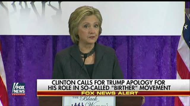 Clinton: Trump campaign 'founded on outrageous lie'