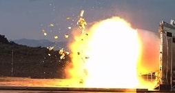 Raw video: Debris sent flying 2,000 feet during NASA test in Utah