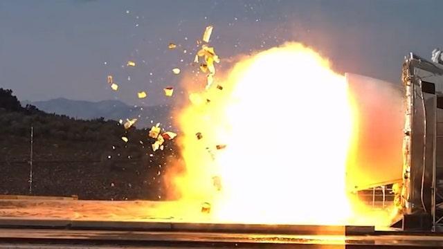 Rocket booster plug blows to bits during NASA test firing