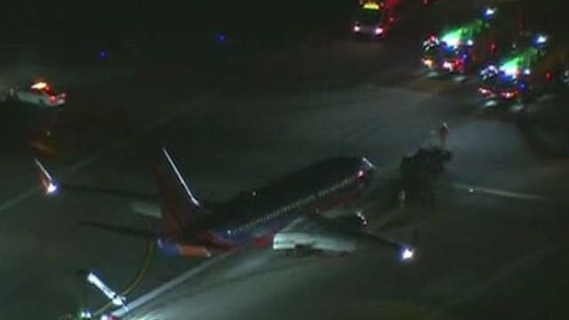 Southwest plane blows tire during takeoff