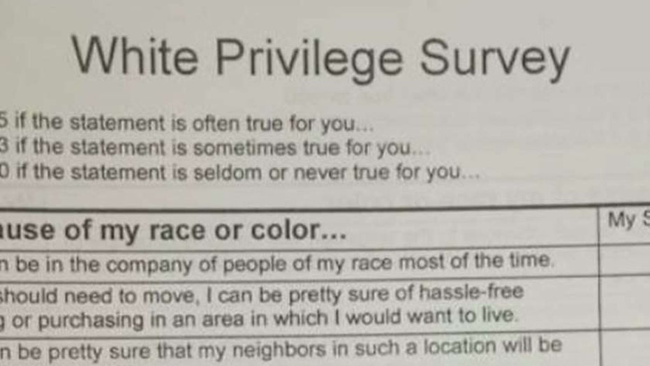 Parents outraged over students' white privilege homework