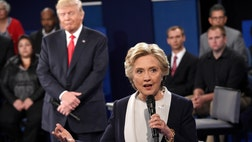 Republican presidential nominee Donald Trump tied Hillary Clinton in Google debate searches during their fiery second debate Sunday.