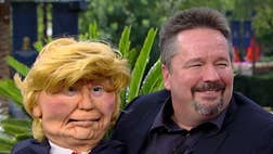 Headliner shows off his Donald Trump puppet impersonation