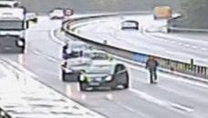 Raw video: Traffic camera catches motorist running after car in Switzerland