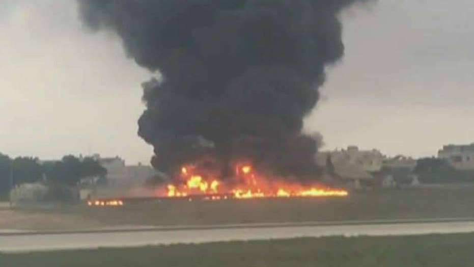 Plane crashes and bursts into fireball in Malta