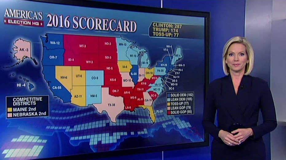 Fox electoral map shift: Florida now a toss-up