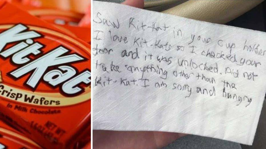 Thief with sweet tooth steals Kit Kat, leaves polite note