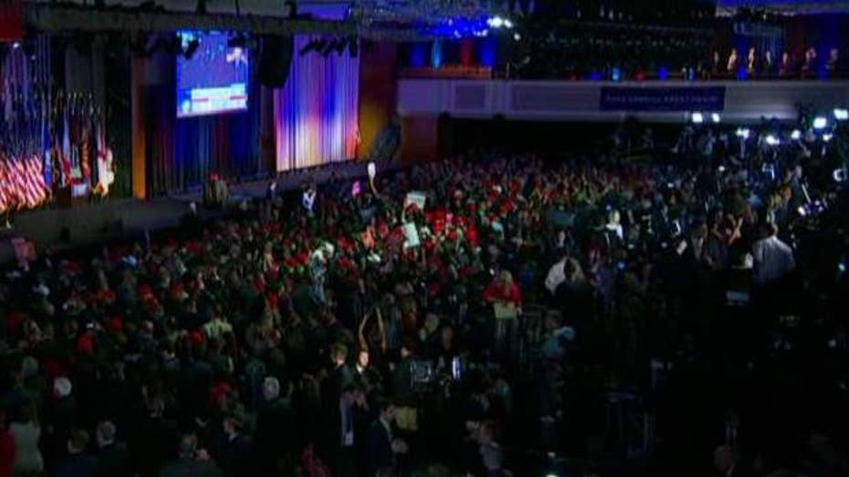 Chants of 'call it' ring out at Trump election HQ