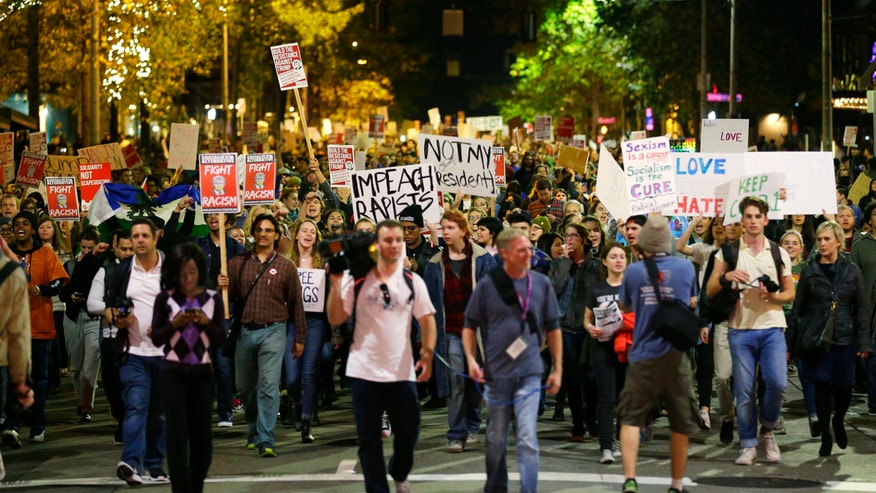 Nationwide protests the night after Trump's victory