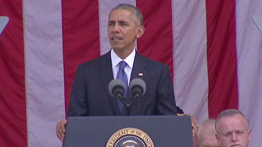 The president makes remarks at Arlington National Cemetery