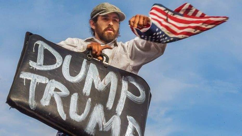 Anti-Trump protests spark debate over free speech