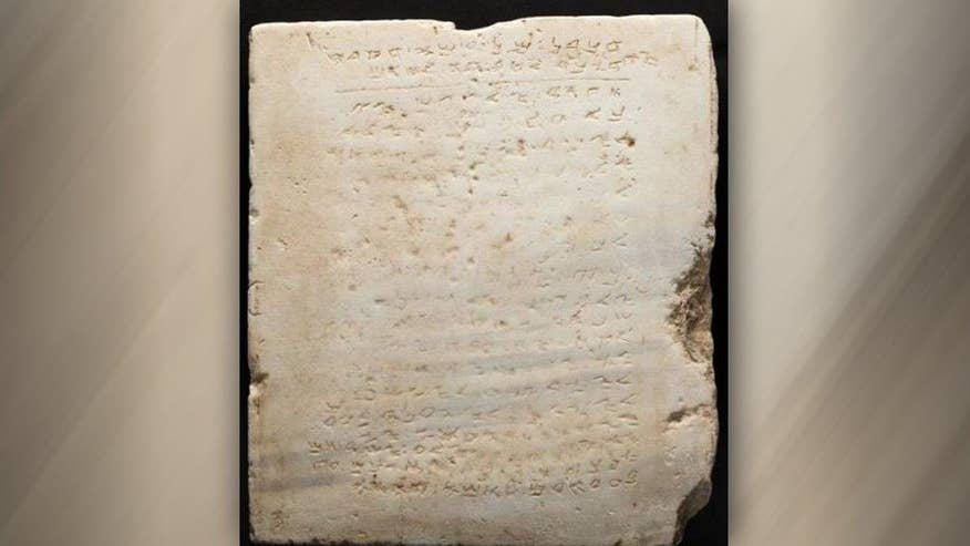 The two-foot square, 115-pound slab inscribed with early Hebrew script was first uncovered during an excavation in Israel in 1913