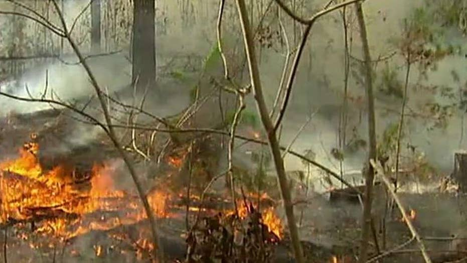 Fall leaves fuel wildfires across seven southern states