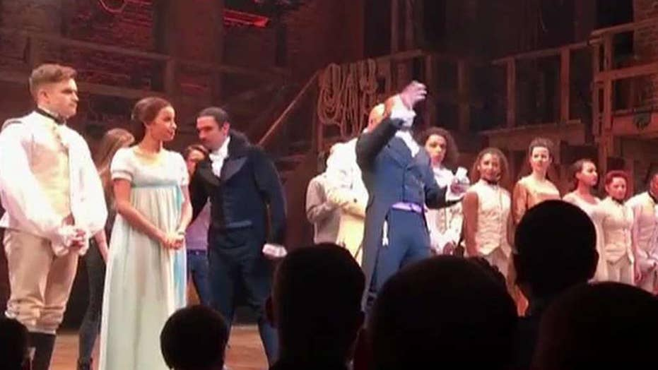 Hamilton cast makes speech to Pence in audience