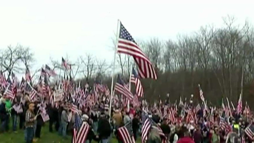 Veterans gather at Hampshire College in Amherst, Massachusetts