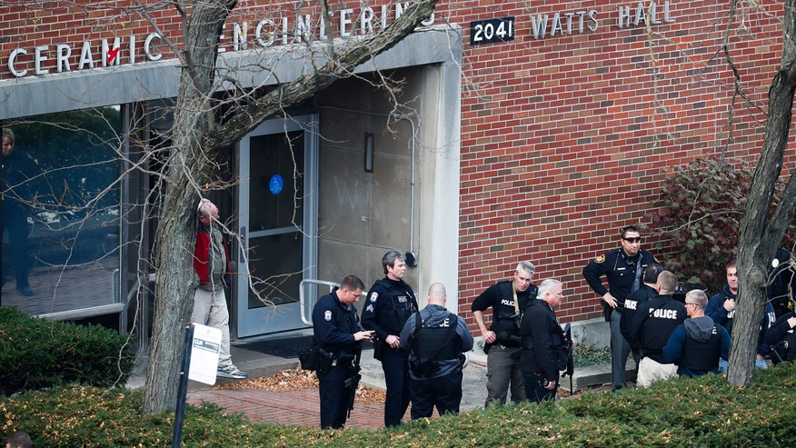 Campus police officer engaged the suspect, ended threat