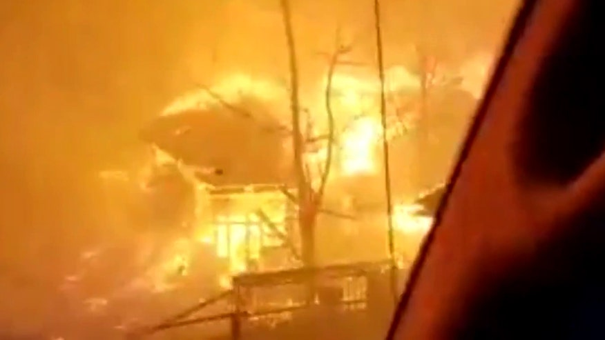 Raw video: Chalet Village residents attempt to flee raging blaze