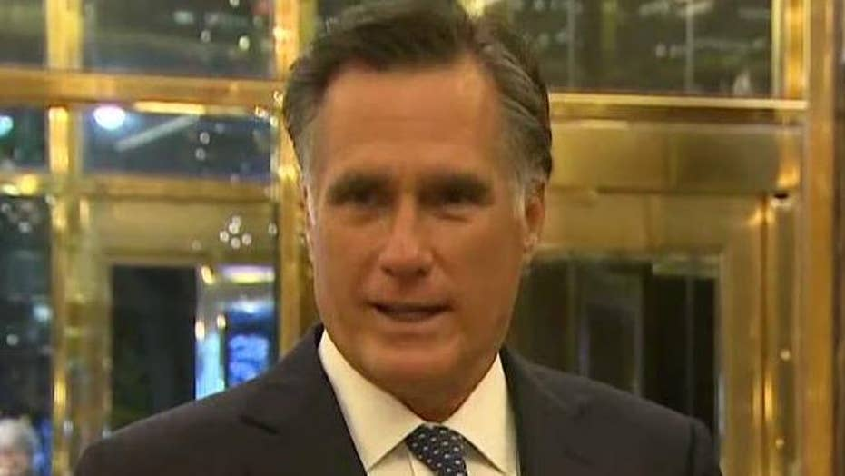 Romney addresses reporters after dinner with Trump
