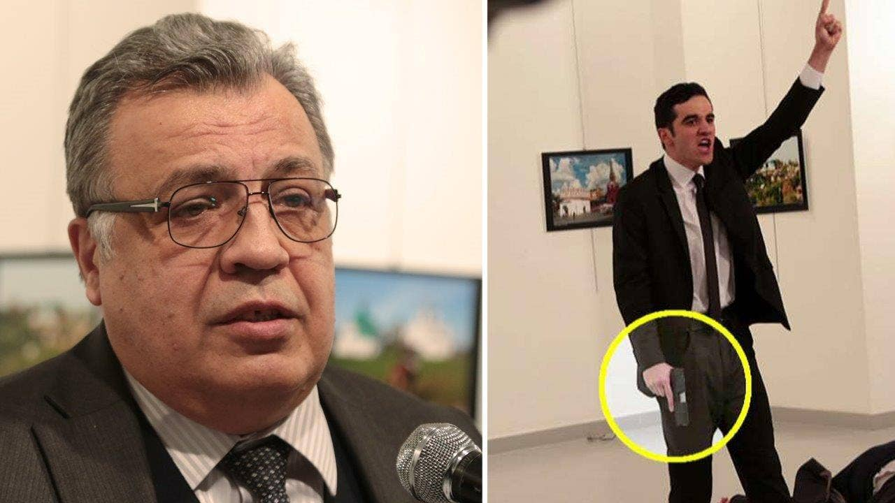 Image result for The moment the attacker opened fire on the Russian ambassador in Ankara
