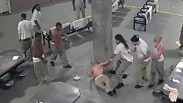 Warning, graphic video: Violent prison brawl caught on tape